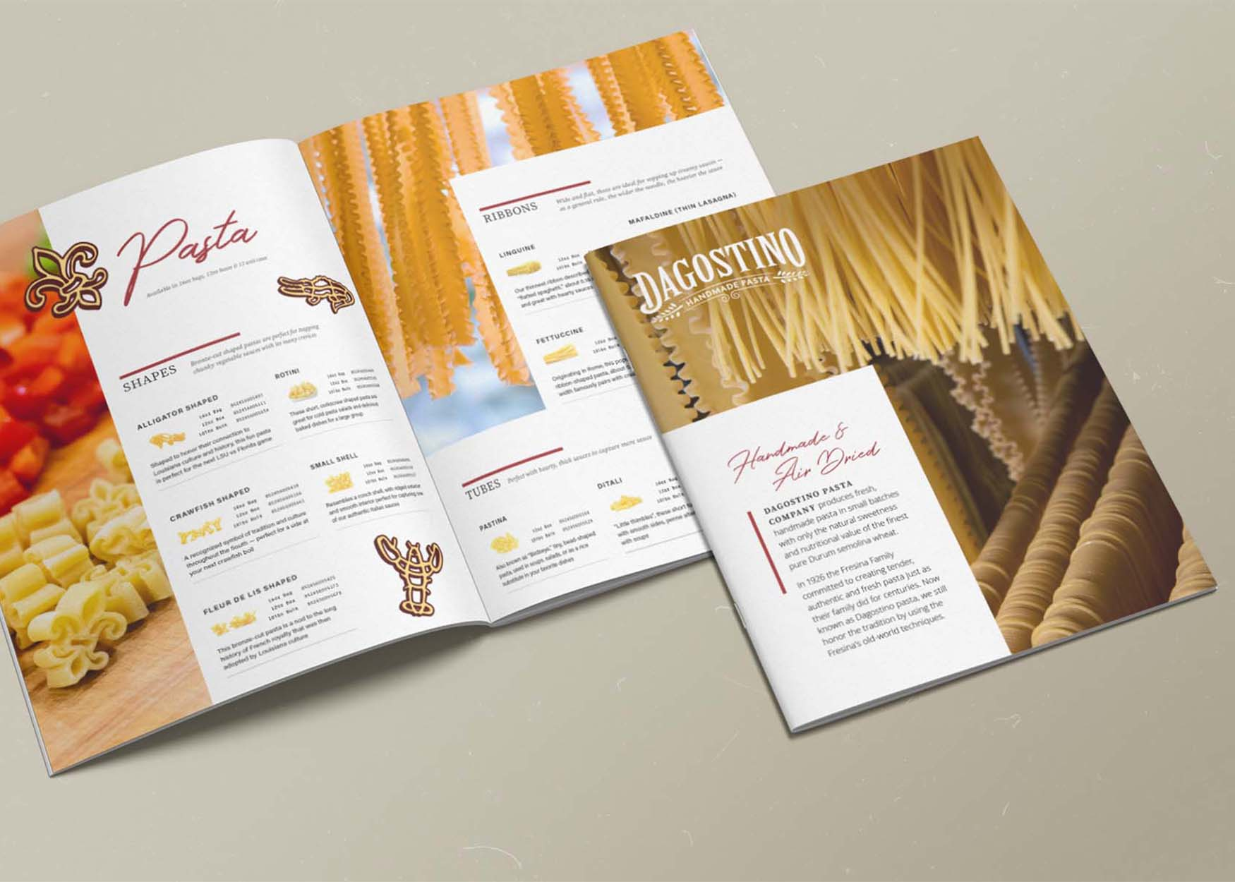A mockup catalogue for Dagostino Pasta showcases different pasta shapes