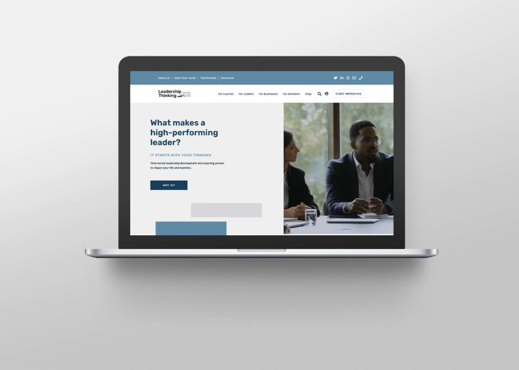 An open laptop screen shows the 'home' page from Leadership Thinking's Website
